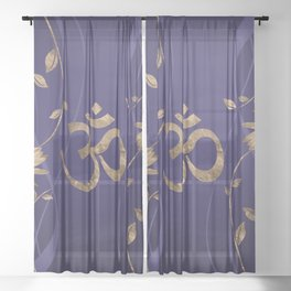 Om Symbol Golden Lotus Flowers on purple Sheer Curtain