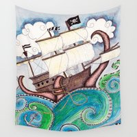 pirate ship Wall Tapestries featuring Pirate Peril by Laura Maxwell