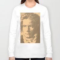 beethoven Long Sleeve T-shirts featuring Beethoven Portrait  by Cool Prints