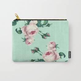 Roses Mint Green + Pink Carry-All Pouch