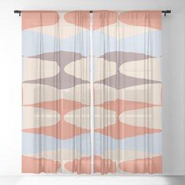 Zaha Blue Retro Sheer Curtain