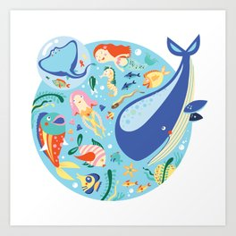 Under The Sea with a Mermaid Art Print