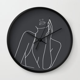 Minimal Line Art of a Woman Wall Clock