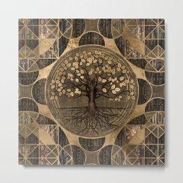 Tree of life - Yggdrasil - Wood and Gold Metal Print