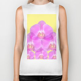 TROPICAL PINK ORCHIDS & YELLOW FLORAL ABSTRACT Biker Tank