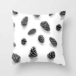 PINE CONE BLACK AND WHITE Throw Pillow