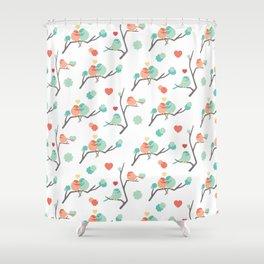 Lovebirds on White Shower Curtain