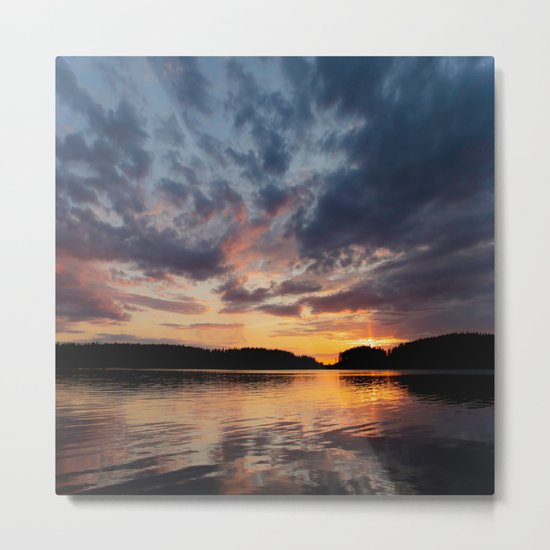 Spring Sunset - beautiful colors and reflections - cloudy sky Metal Print