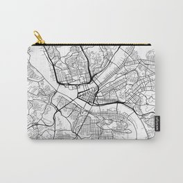Pittsburgh Map, USA - Black and White Carry-All Pouch