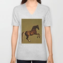 Classical Masterpiece Circa 1762 Racehorse Whistlejacket Rearing Up by George Stubbs Unisex V-Neck