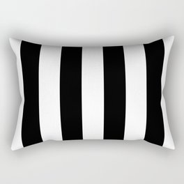 Midnight Black and White Vertical Cabana Tent Stripes Rectangular Pillow