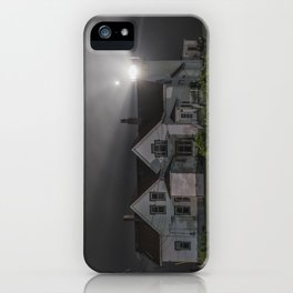 Eastern point lighthouse on a foggy night iPhone Case