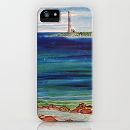 Thatcher island lighthouses on a peaceful day iPhone Case