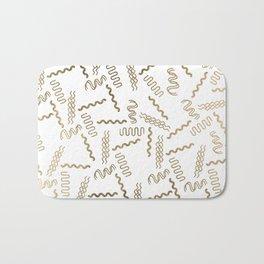 Geometrical white faux gold abstract retro 80's pattern Bath Mat
