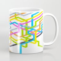 90s Mugs featuring Neon 90s Metro by Abstract Graph Designs