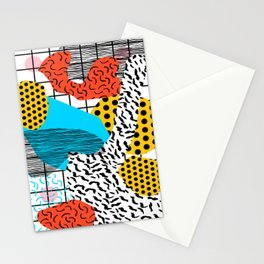 Wig Out - memphis style shapes retro pop art pattern dots stripes squiggles 1980's 80s 80 1980 retro Stationery Cards