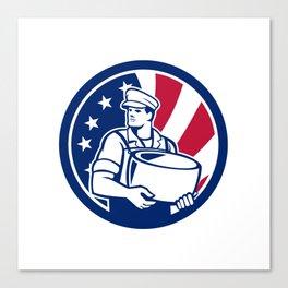 American Artisan Cheese Maker USA Flag Icon Canvas Print