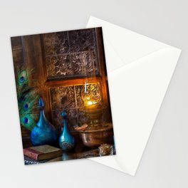 Books, Blue Cups, and Peacocks Lithographic Print Stationery Cards