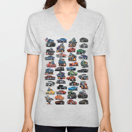 American Hot Rods, Muscle Cars, Street Rods, Pickup Trucks and Motorcycle Cartoons Unisex V-Neck