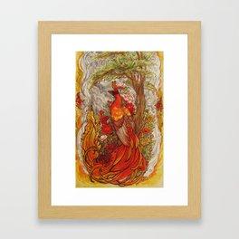 Phoenix with Peony Chrysanthemum and Poppies  Framed Art Print