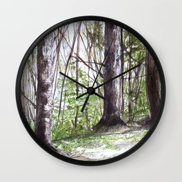 Woodland Trees in Vermont Illustration Nature Art Wall Clock