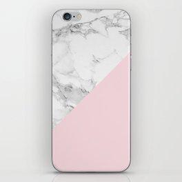 Marble + Pastel Pink iPhone Skin