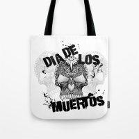dia de los muertos Tote Bags featuring Dia De Los Muertos by Digi Treats 2