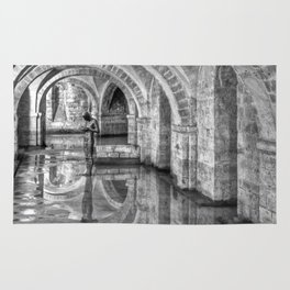 Winchester Cathedral Crypt - Black and White Rug
