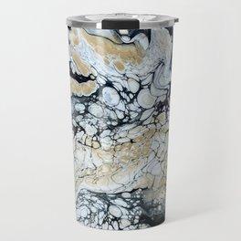 Bold Black Gold & White Abstract Travel Mug