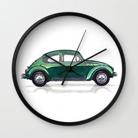 volkswagen Wall Clocks featuring Volkswagen Beetle by BSJC Automotive Art