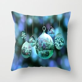 Christmas Bulbs in Blue Throw Pillow