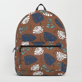 Sweet jungle palm leaves and monstera garden botanical print blue Backpack