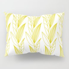 Growing Leaves: Golden Yellow – White background Pillow Sham