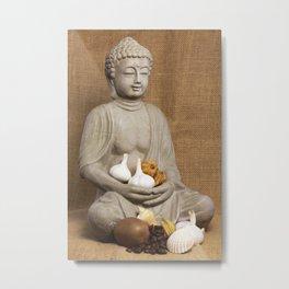 Kivi coffee beans garlic Physalis Snail Shell Buddha Metal Print