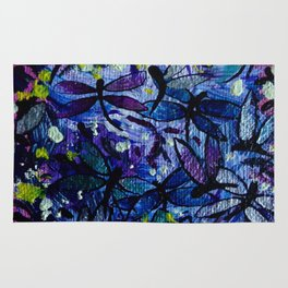 Dragonflies Flying in a Colorful Sky with Happy Yellow Highlights Delight by annmariescreations Rug