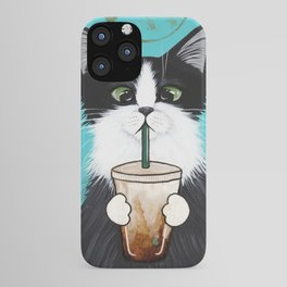 Tuxedo Cat With Iced Coffee iPhone Case