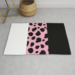 Animal Print, Cow, Stripes - Pink Black White Rug