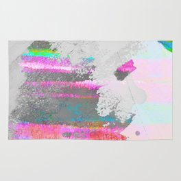 Abstract pastel painting in pink and green, watercolor design Rug