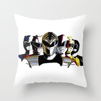 power rangers Throw Pillows featuring Power Rangers by SquidInkDesigns