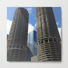 blue sky + marina towers chicago 2 Metal Print