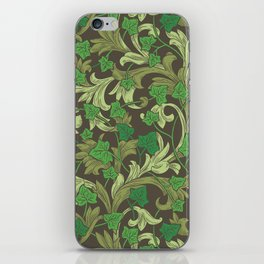 Green ivy with ornament on dark brown background iPhone Skin
