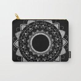 Precious white mandala on black Carry-All Pouch