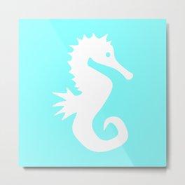 Seahorse (White & Aqua) Metal Print