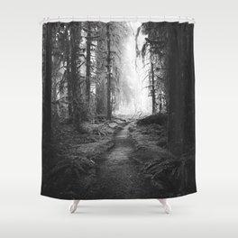 Magical Washington Rainforest Black and White Shower Curtain