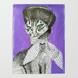 Lady Cat wearing a Beret Poster