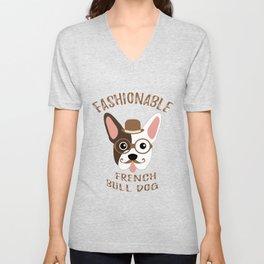 Bulldog French Dog Fashionable Hipster Vintage Unisex V-Neck