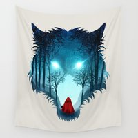 bad wolf Wall Tapestries featuring Big Bad Wolf (light version) by DV designstudio