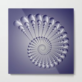 Navy and White Spiral Shell Metal Print