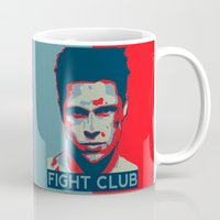 tyler spangler Mugs featuring Tyler Durden by Jason Vaughan