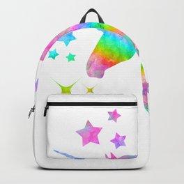 Sparkling Rainbow Unicorn Watercolor Portrait Painting Backpack